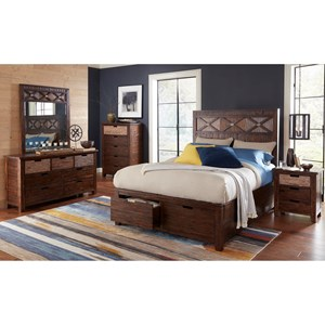 Jofran Painted Canyon Bedroom Group with Queen Bed