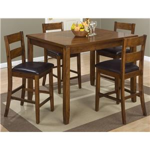 Jofran Plantation Plantation Counter Height Table and 4 Stools