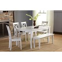 Jofran Simplicity Dining Table and Chair/Bench Set - Item Number: 252-60+6x806KD+14KD