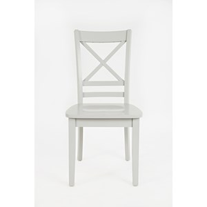 "Jofran 3x3x3: Grey ""X"" Back Side Chair"