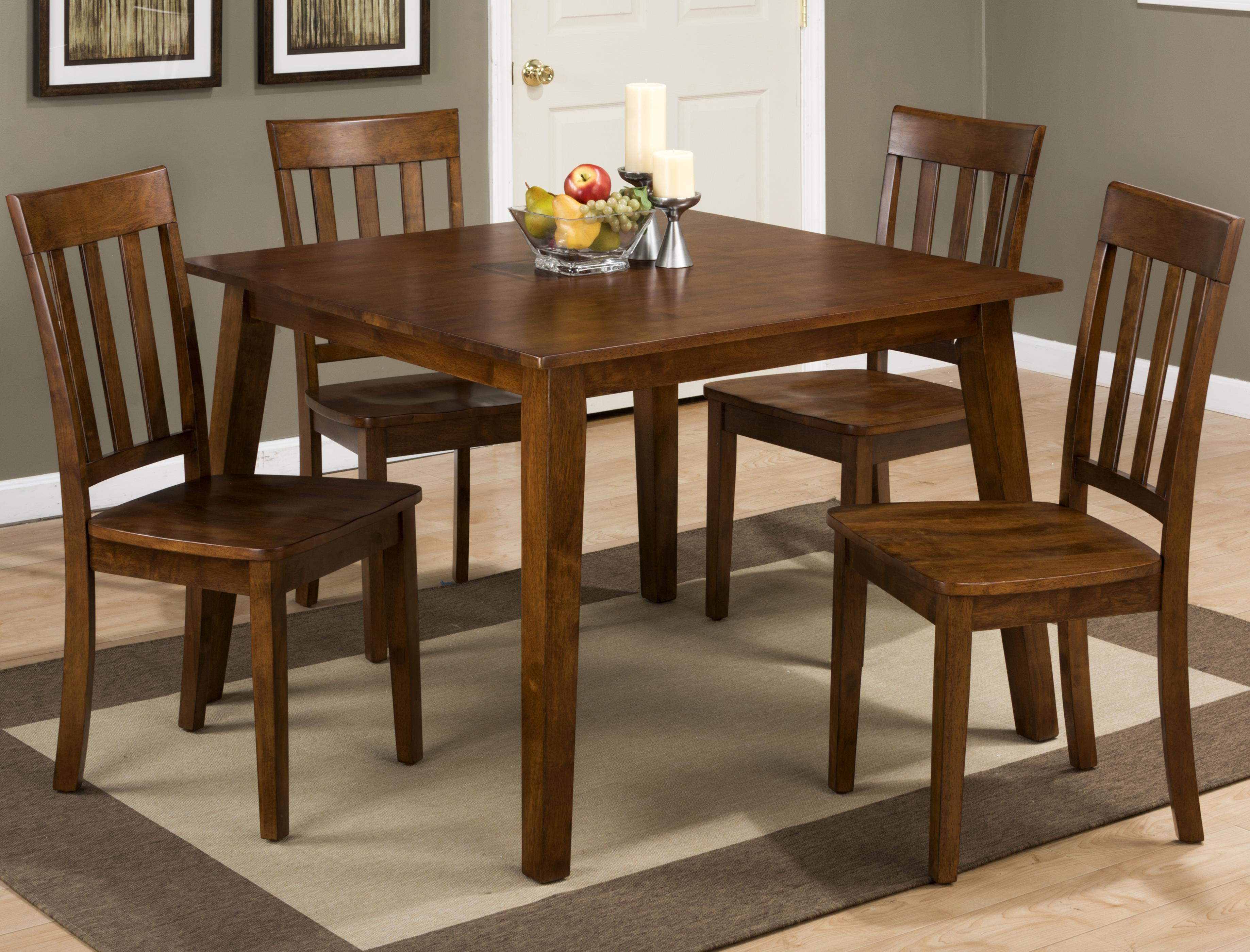 Jofran 3x3x3: Caramel Square Table And 4 Chair Set   Item Number: 452