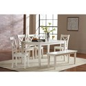 Jofran Simplicity Dining Table and Chair/Bench Set - Item Number: 652-60+4x806KD+14KD