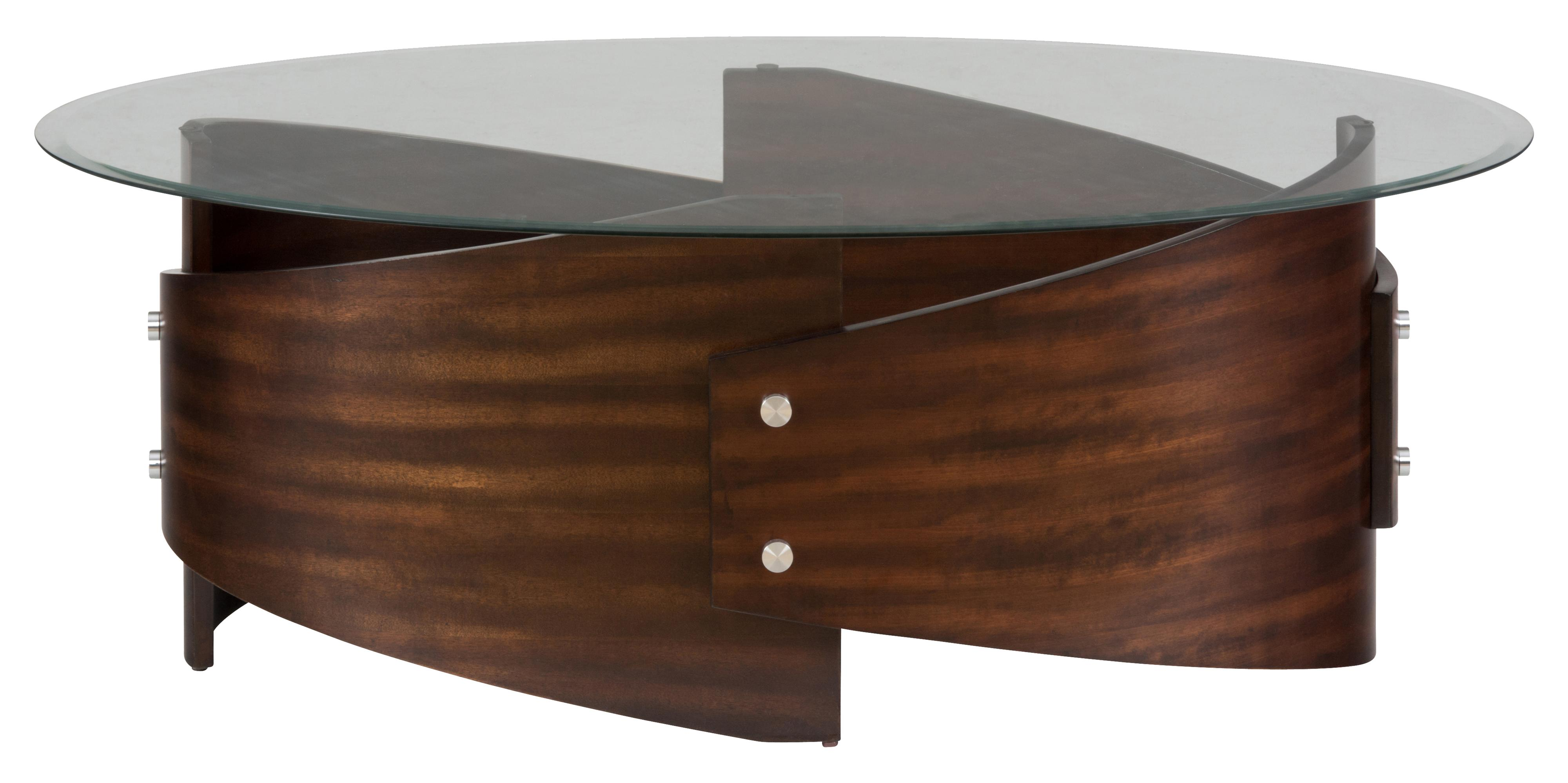 Jofran Waterville Walnut Glass Top Cocktail Table With