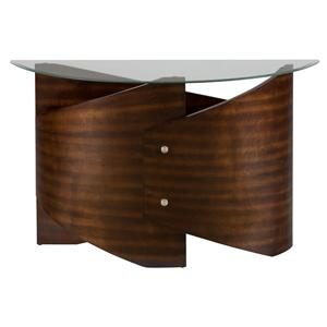 Jofran Waterville Walnut Glass Top Sofa Table