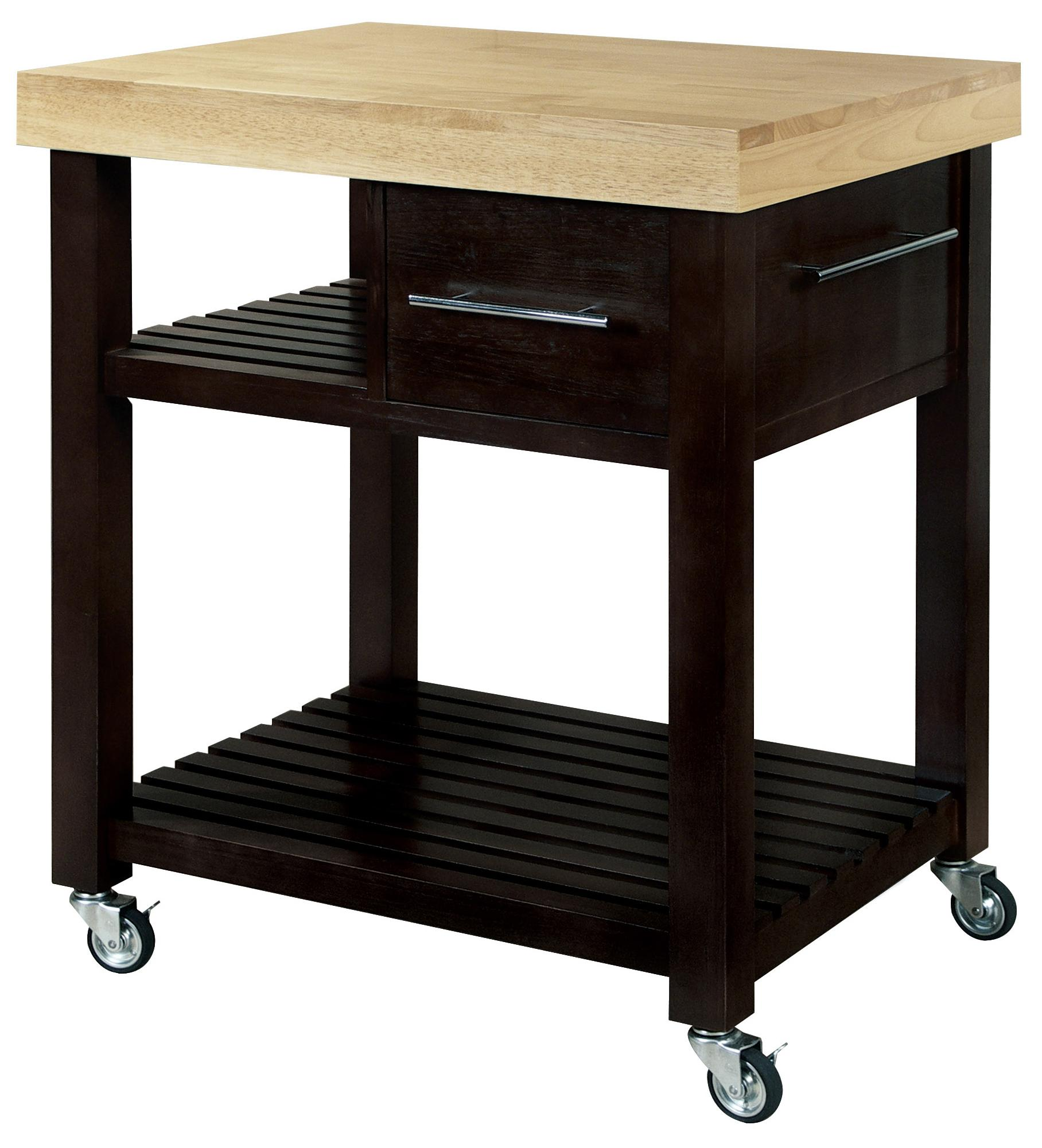 John Thomas Dining Essentials 1-Drawer 2-Shelf Kitchen Cart - Item Number: WC10-3
