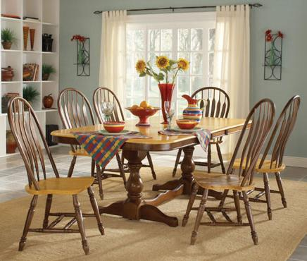 John Thomas Madison Park 7-Piece Pedestal Table & Side Chair Set - Item Number: T58-4268XBT+6xC58-1206