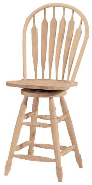 """24"""" Steambent Windsor Stool with Swivel"""