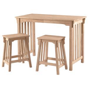 John Thomas SELECT Dining 3-Piece Mission Gathering Table & Stool Set