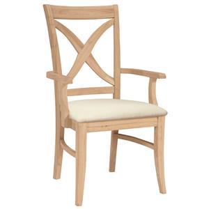 John Thomas SELECT Dining Vineyard Arm Chair with Seat Cushion