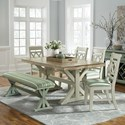 John Thomas SELECT Dining Farmhouse Dining Set - Item Number: T-4068B+A+BE-6015T+4xC-47B