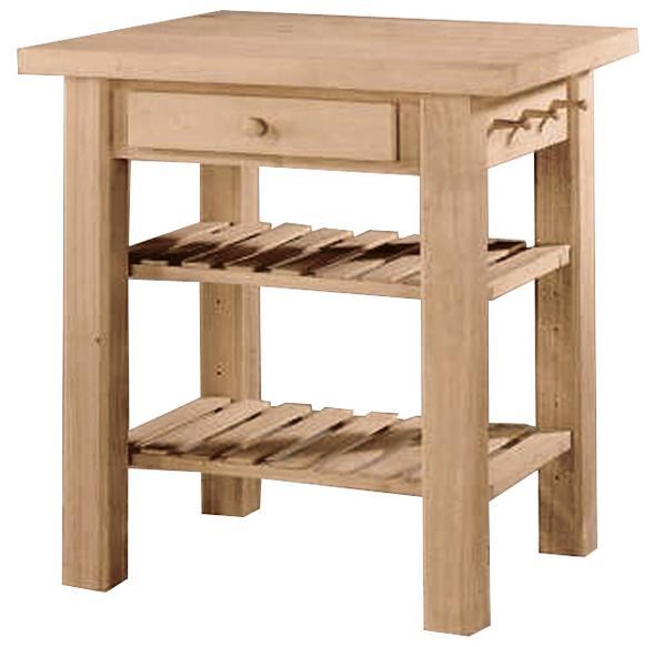 2-Shelf 1-Drawer Kitchen Island
