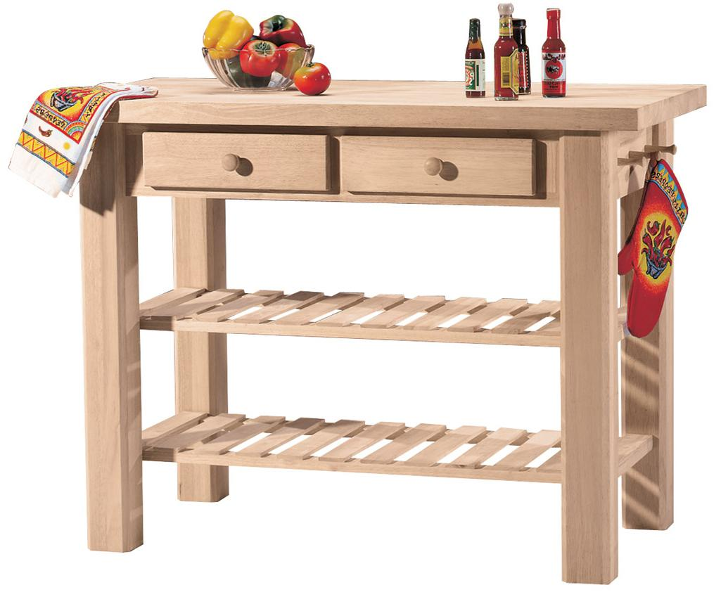 2-Shelf 2-Drawer Kitchen Island