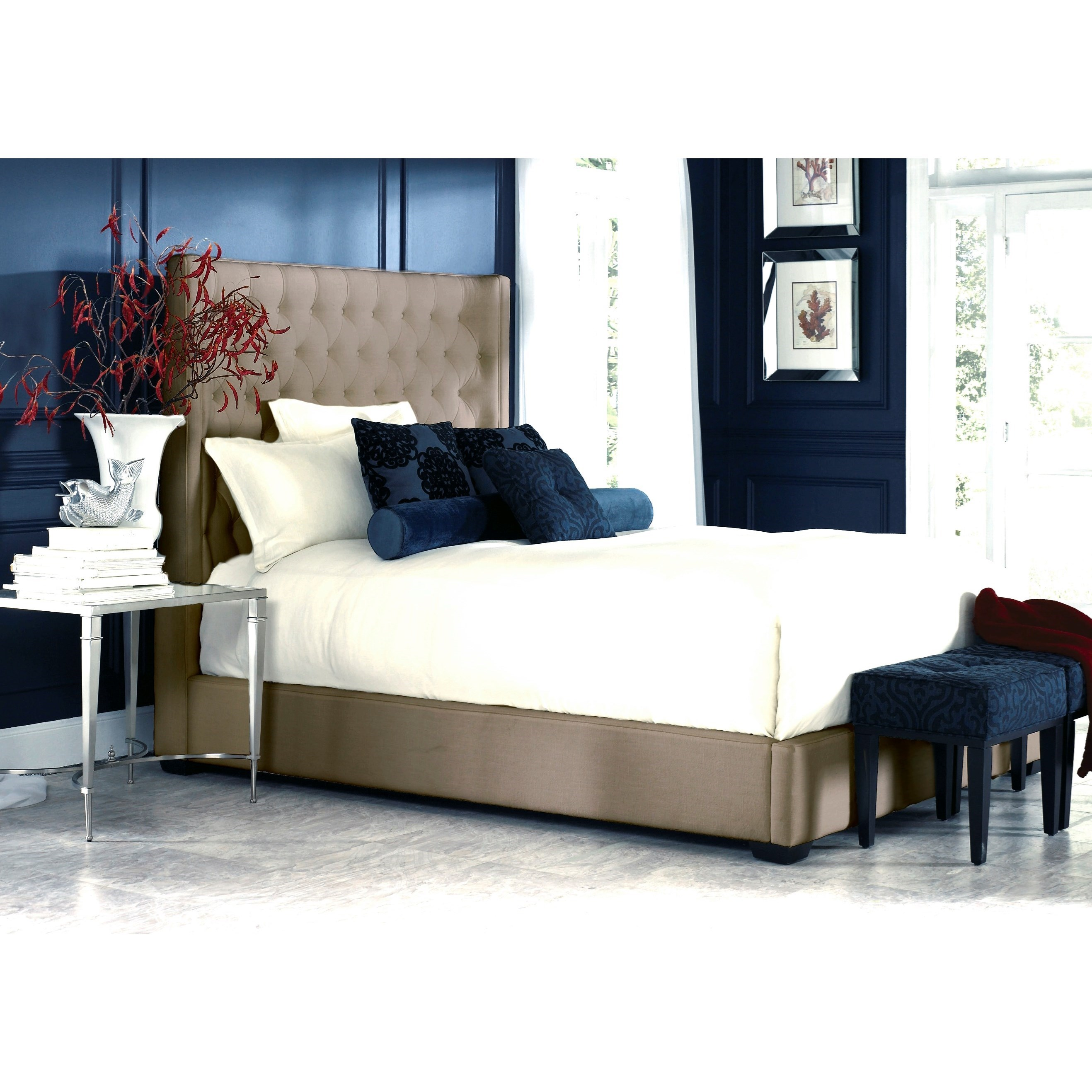 California King Upholstered Storage Bed