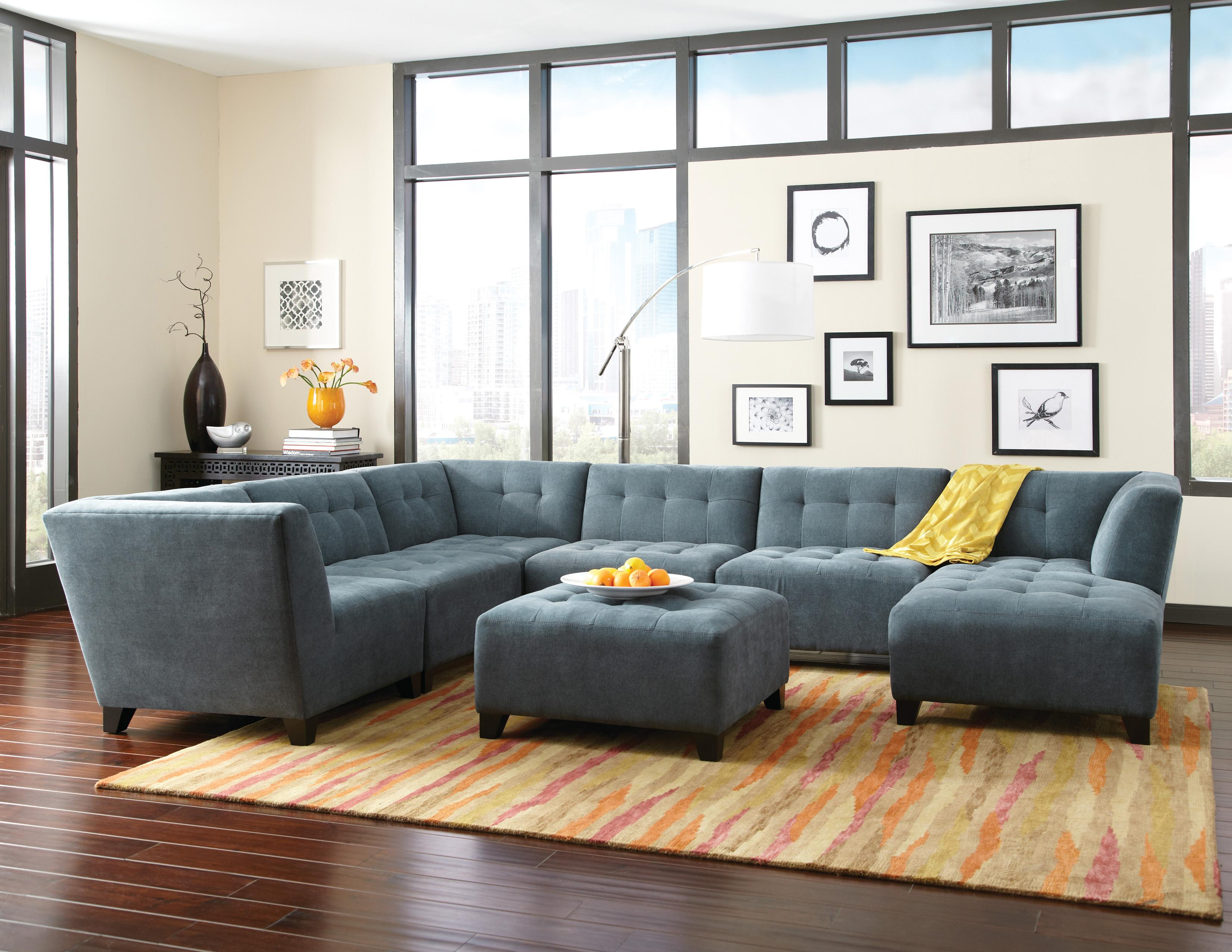 Jonathan Louis Belaire Contemporary Sectional With Tapered Feet Darvin Furniture Sofa Sectional