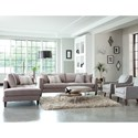 Jonathan Louis Calista  Modern Estate Sofa with Tufted Seat and Toss Pillows
