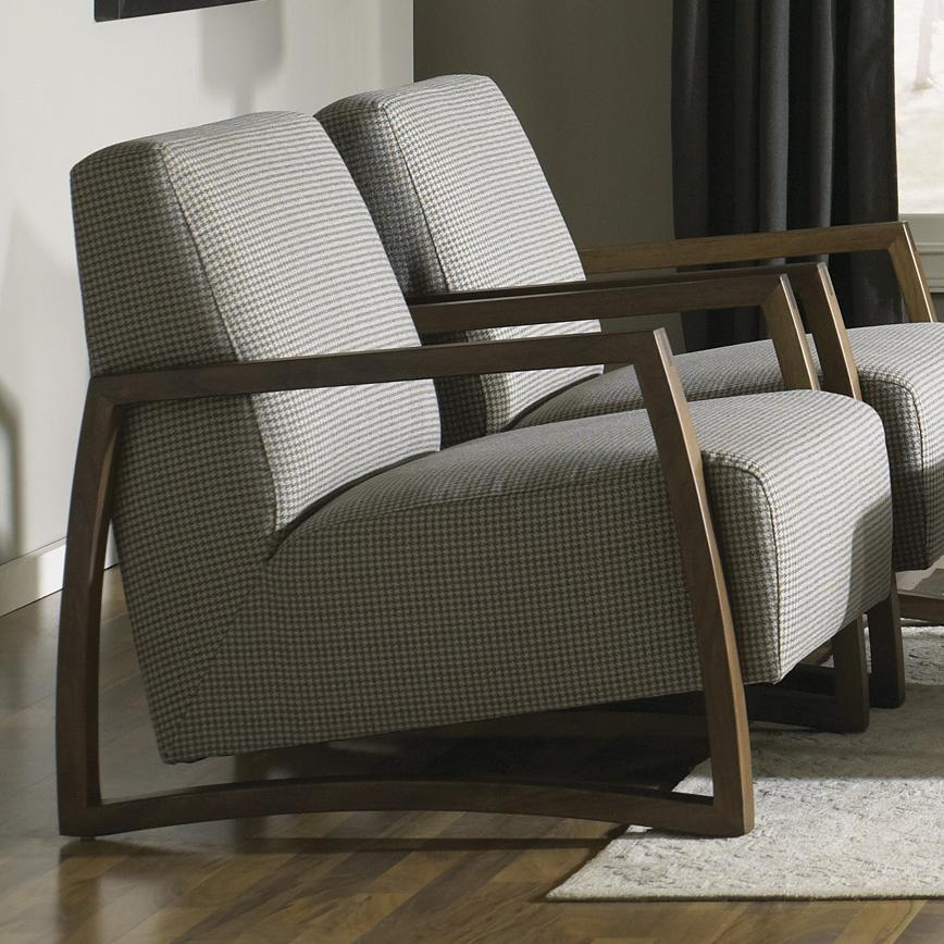 Jonathan Louis Mansfield Exposed Wood Accent Chair In