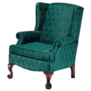 Justice Furniture Accent Chairs and Ottomans Elegant Wing Chair with Ball and Claw Legs