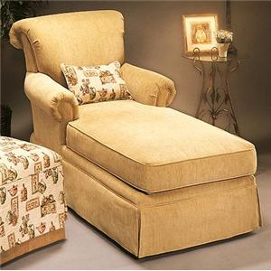 Justice Furniture Accent Chairs and Ottomans Traditional Styled Chaise with Rolled Back