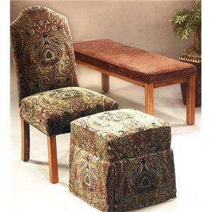Justice Furniture Accent Chairs and Ottomans Armless Parsons Chair and Cube Ottoman Set