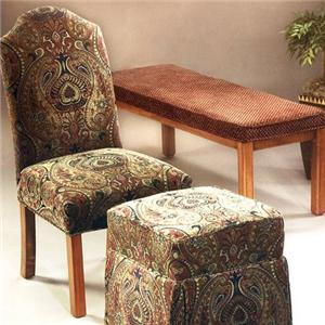 Justice Furniture Accent Chairs and Ottomans Armless Parsons Chair with Wood Legs
