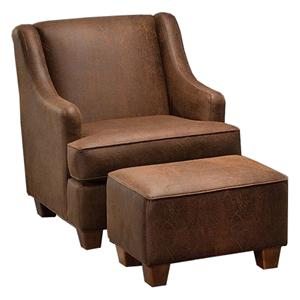 Justice Furniture Accent Chairs and Ottomans Modern Styled Chair and Ottoman Set