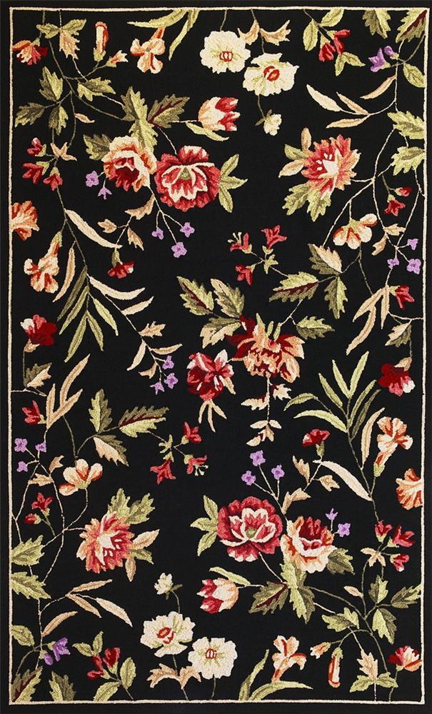 Kas Seabrook 7.6 x 9.6 Area Rug : Black Floral - Item Number: 939607745
