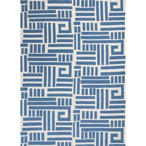 "6'7"" X 9'6"" Blue/Ivory Visions Area Rug"