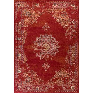"Kas Bob Mackie Home Vintage 2'2"" X 7'10"" Burnt Red Medallia Area Rug"