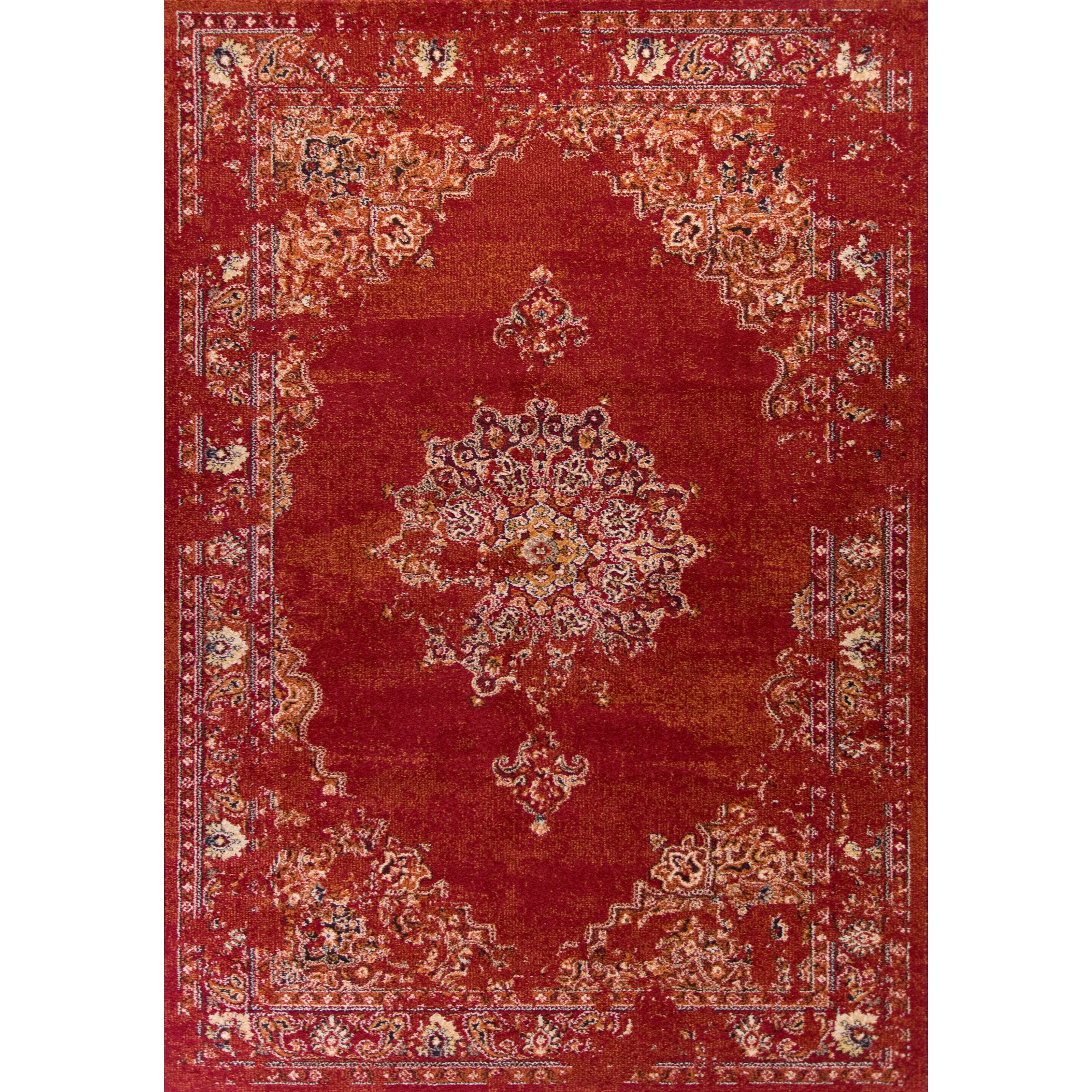 """Bob Mackie Home Vintage 3'3"""" X 4'11"""" Burnt Red Medallia Area Rug by Kas at Zak's Home"""