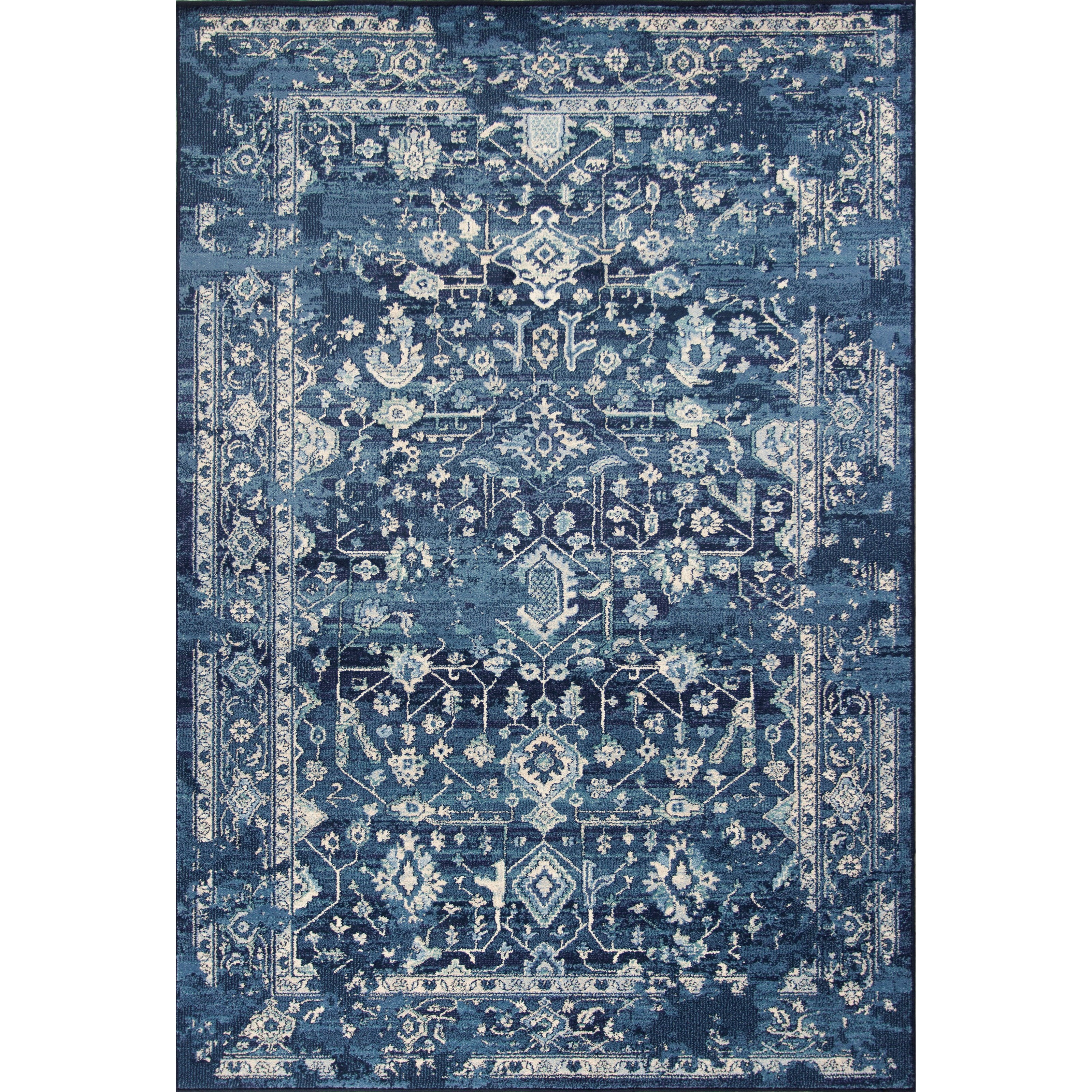 "Bob Mackie Home Vintage 3'3"" X 4'11"" Azure Blue Marrakesh Area Rug by Kas at Zak's Home"