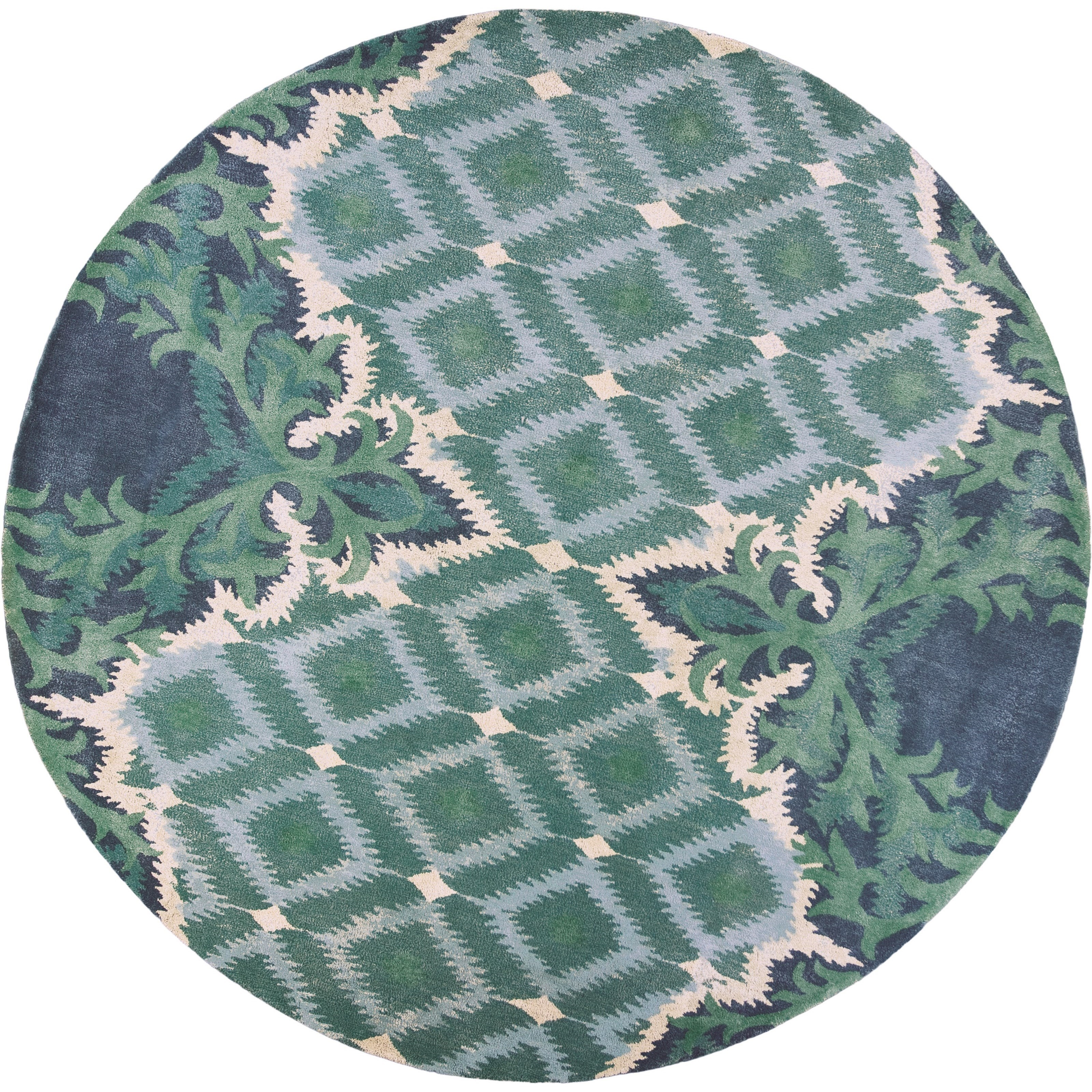 "Bob Mackie Home 7'6"" X 7'6"" Blue/Green Opulence Area Rug by Kas at Zak's Home"
