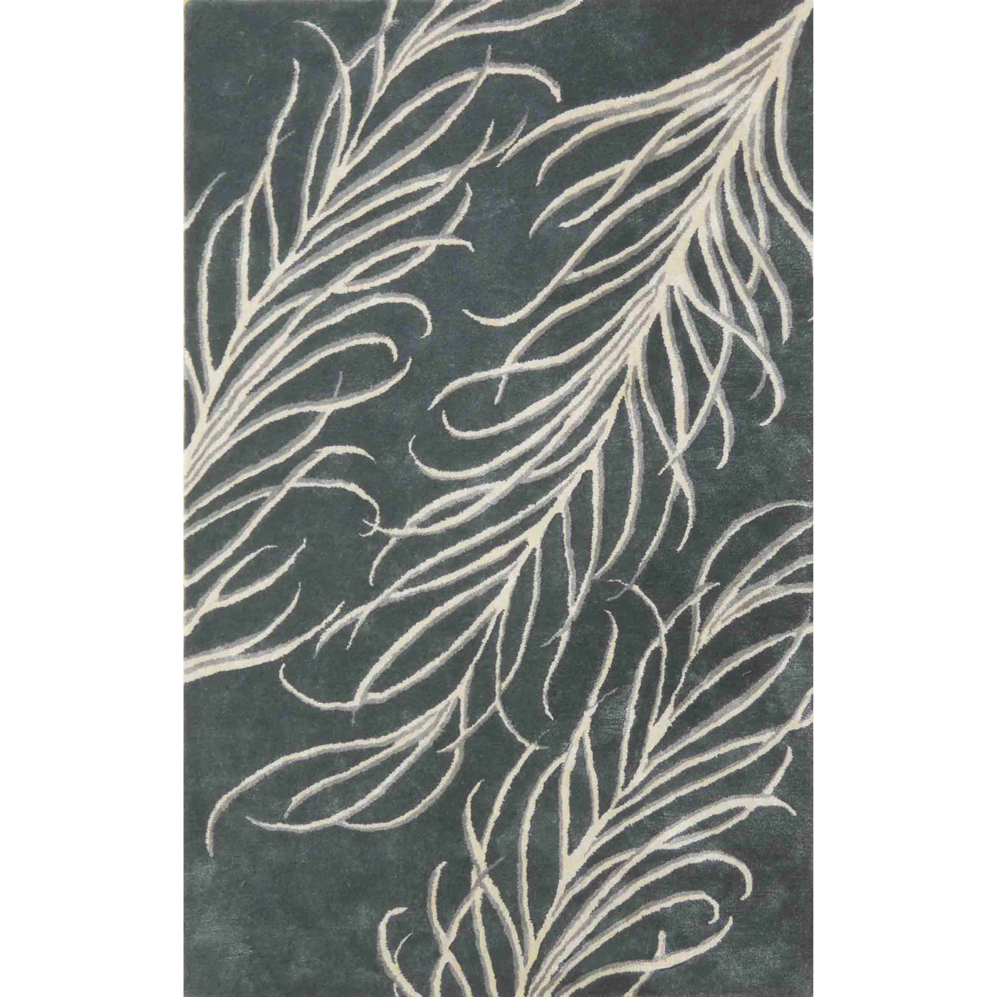 "Bob Mackie Home 2'6"" X 8' Slate Grey Plume Area Rug by Kas at Darvin Furniture"