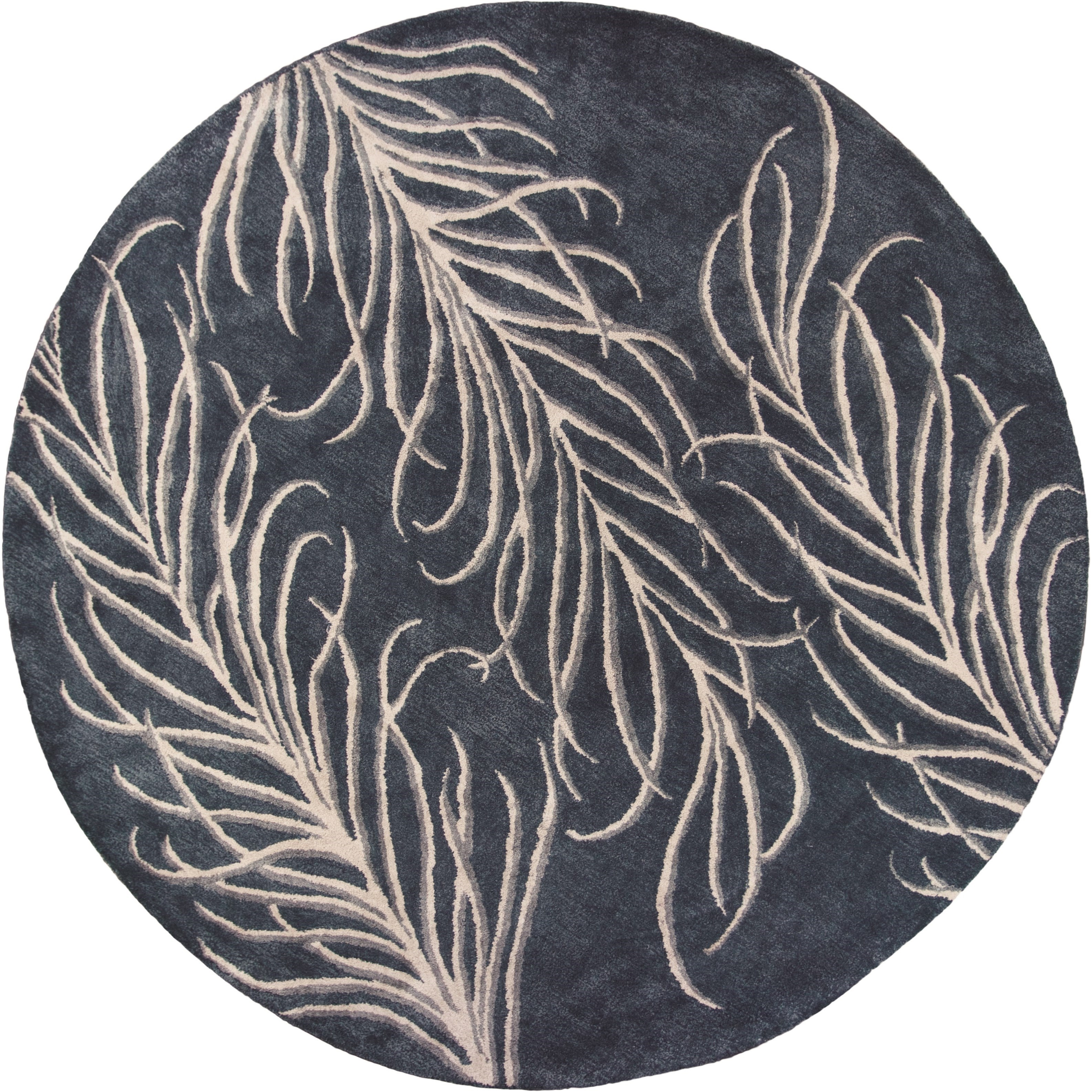 """Bob Mackie Home 7'6"""" X 7'6"""" Slate Grey Plume Area Rug by Kas at Darvin Furniture"""