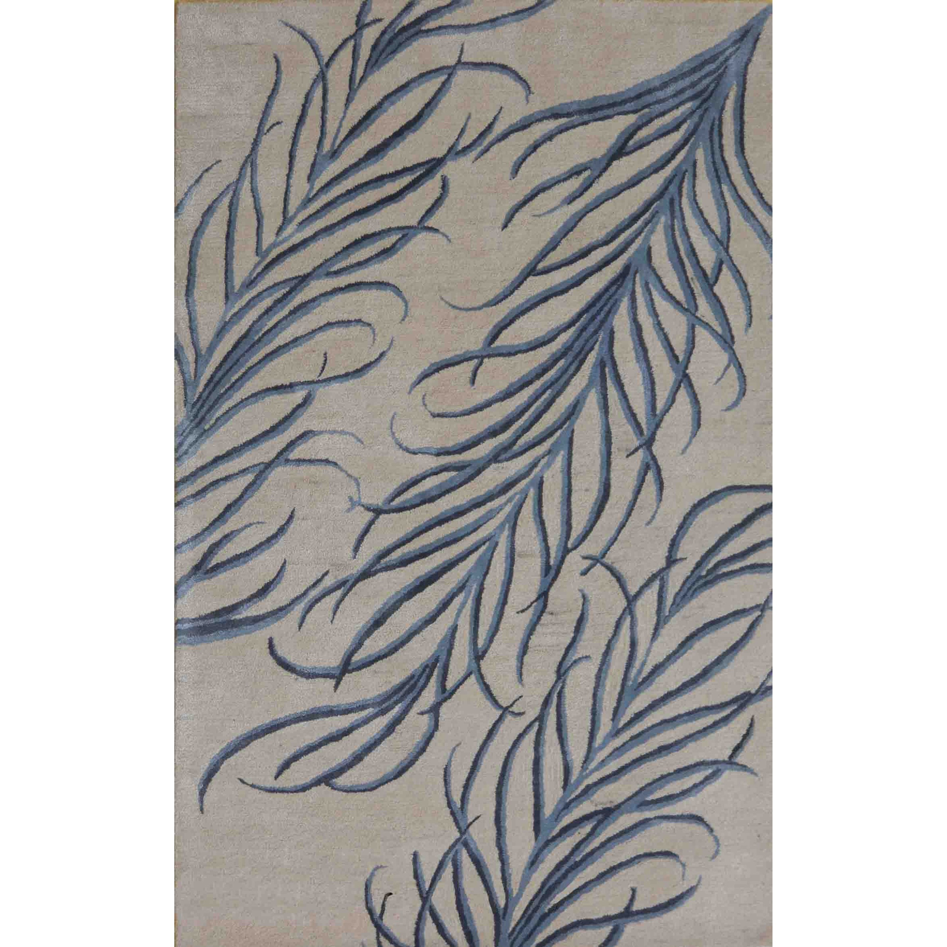 Bob Mackie Home 5' X 8' Ivory/Blue Plume Area Rug by Kas at Darvin Furniture