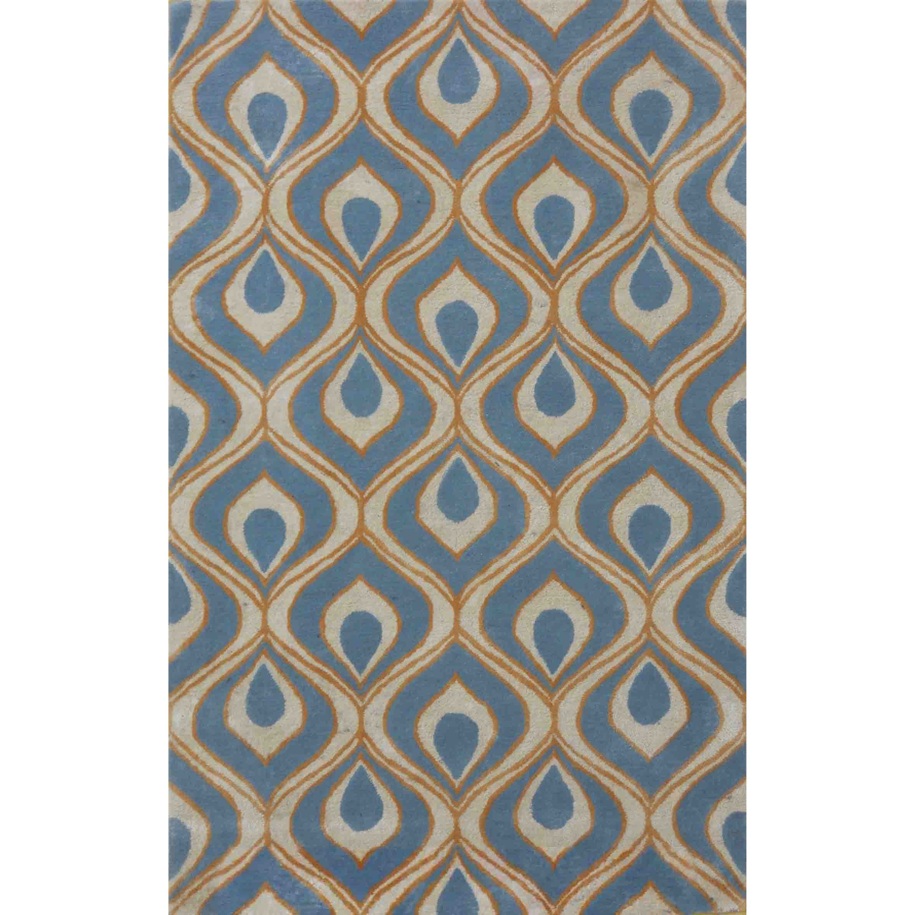 "2'6"" X 8' Blue Eye Of The Peacock Area Rug"