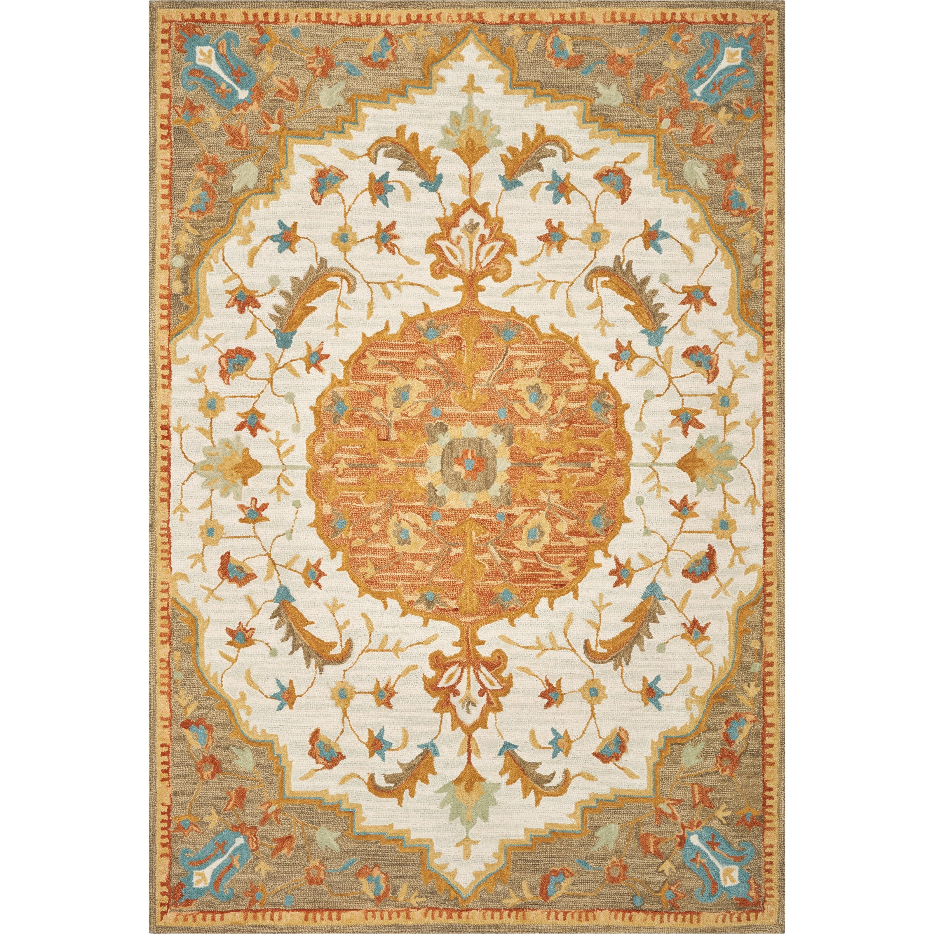 """2'3"""" x 8' Runner Ivory/Taupe Portugal Rug"""