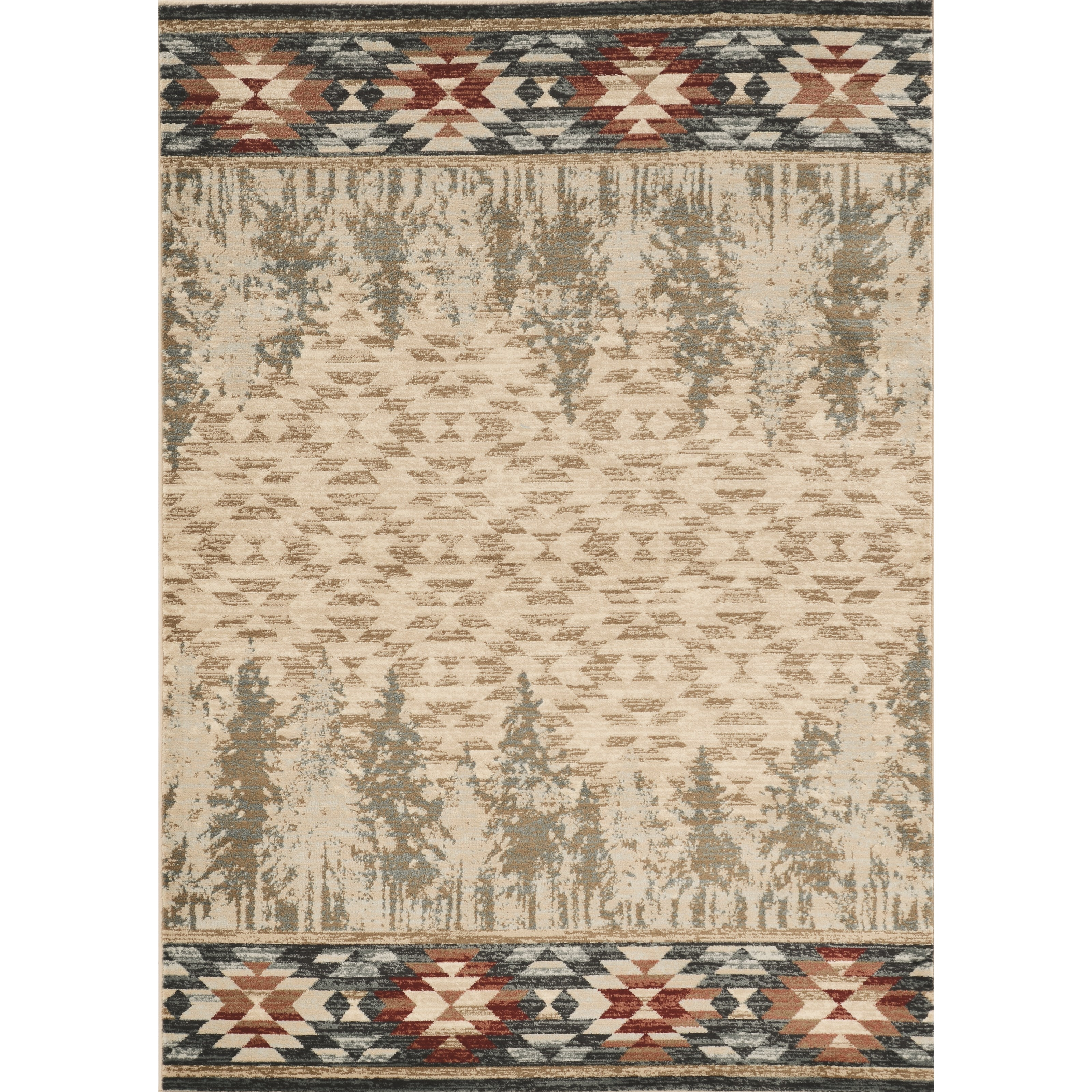 "5'3"" x 7'7"" Ivory Pines Rug"