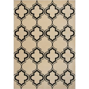 "2'2"" X 7'11"" Ivory/Black Arabesque Area Rug"