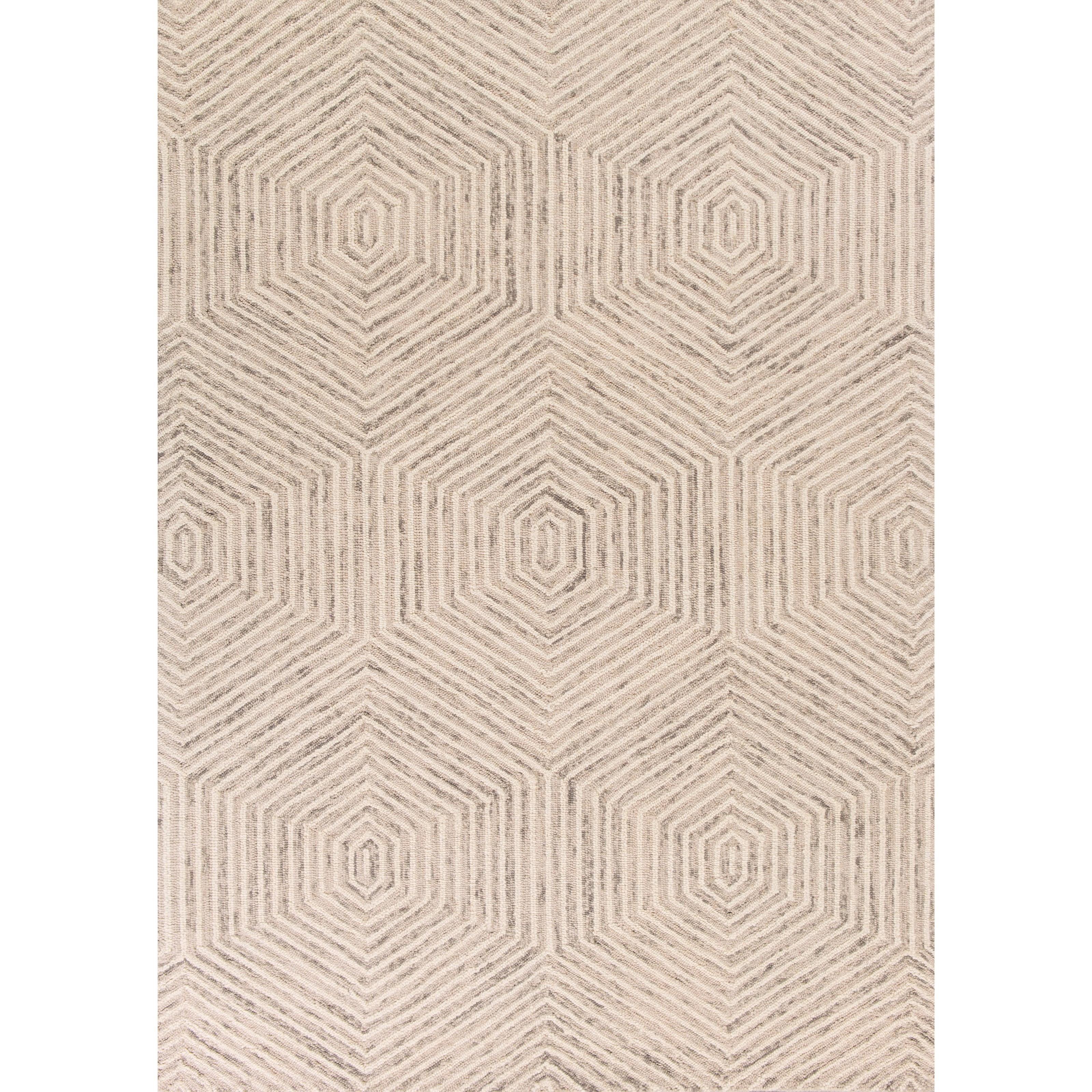 5' X 7' Ivory Honeycomb Area Rug