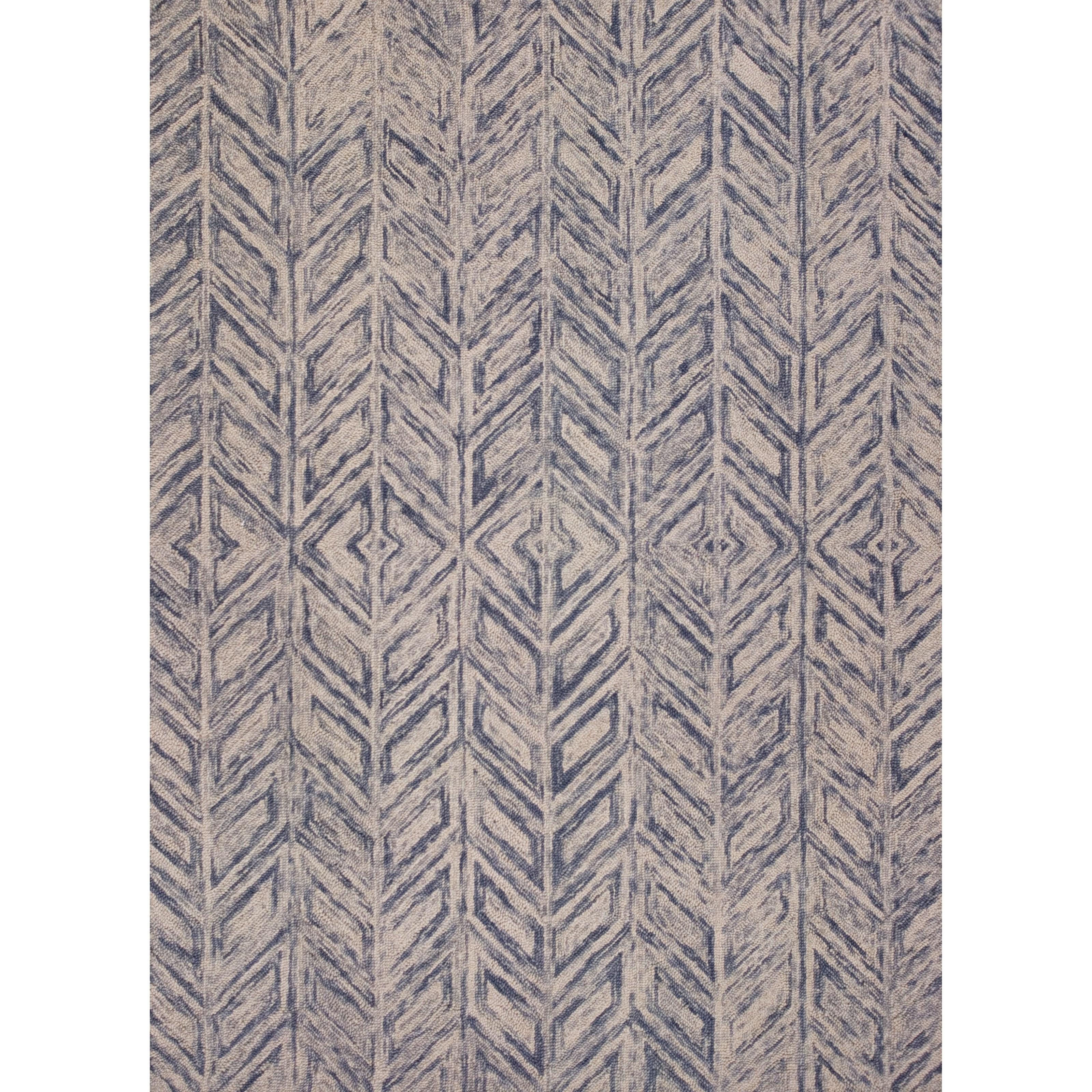 9' x 12' Blue Heather Herringbone Rug
