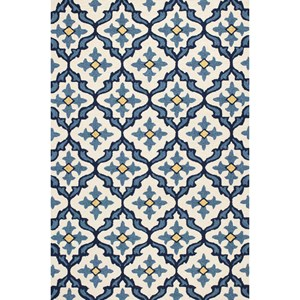 "Kas Harbor 7'6"" X 9'6"" Ivory/Blue Mosaic Area Rug"