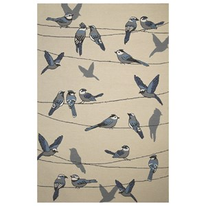 "Kas Harbor 3'3"" X 5'3"" Ivory Birds On A Wire Area Rug"