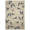 "Kas Harbor 3'3"" X 5'3"" Ivory Birds On A Wire Area Rug - Item Number: HAR422133X53"