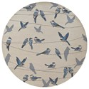 "Kas Harbor 7'6"" X 7'6"" Ivory Birds On A Wire Area Rug - Item Number: HAR422176X76RO"