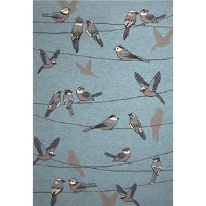 "Kas Harbor 5' X 7'6"" Blue Birds On A Wire Area Rug"