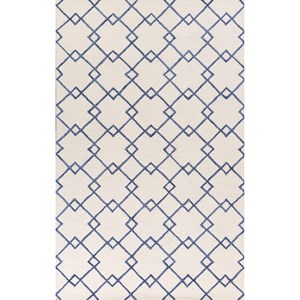 "Kas Impressions 3'4"" X 4'11"" Ivory/Blue Courtyard Area Rug"