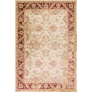 "Kas Jasmine 5'3"" X 7'7"" Ivory/Red Traditions Area Rug"
