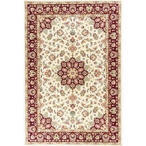 "Kas Kingston 8'9"" X 13' Ivory/Red Tabriz Area Rug"