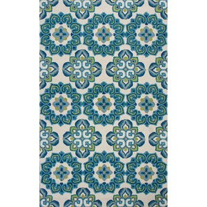 5' X 7' Ivory/Blue Courtyard Area Rug