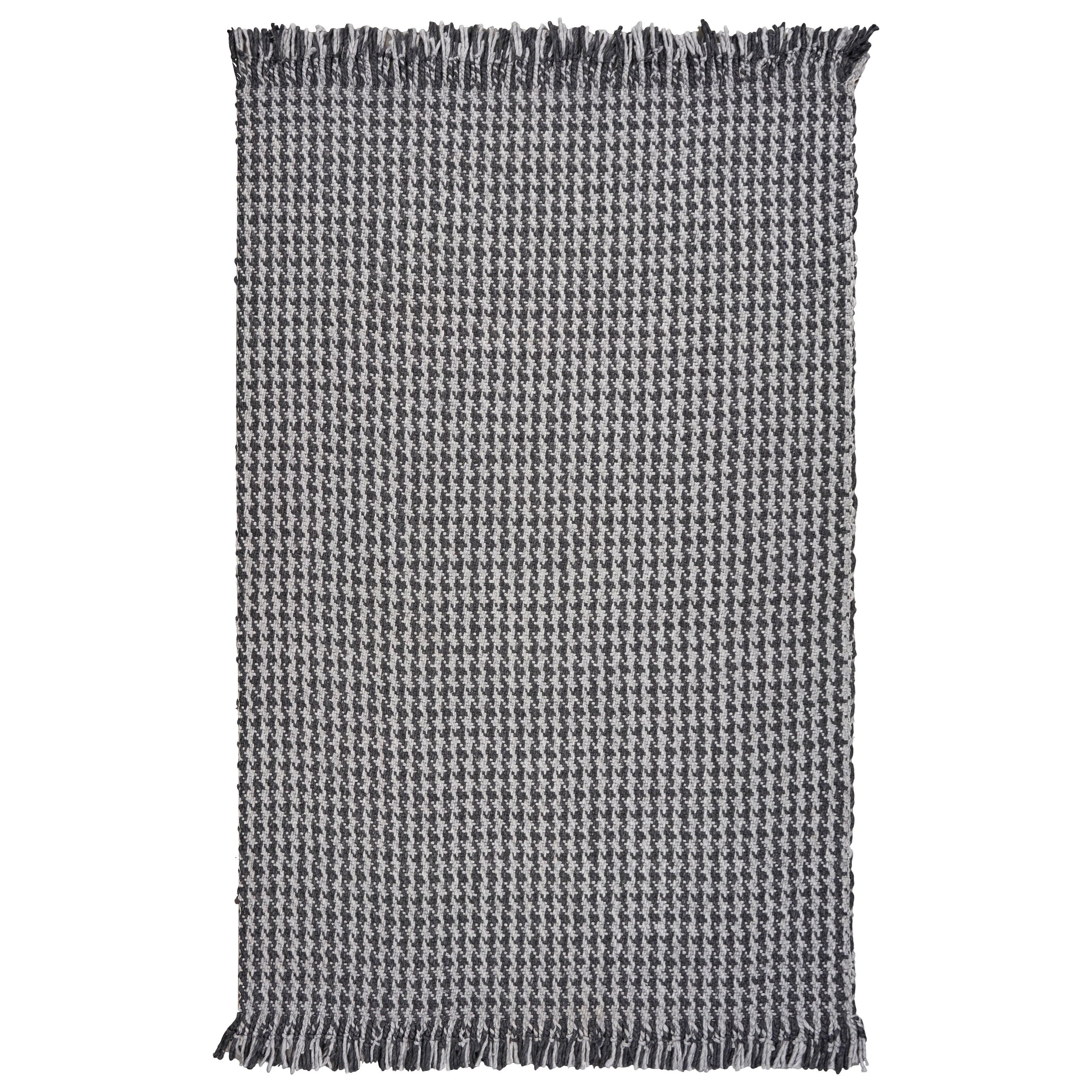 5' x 8' Grey Houndstooth Rug